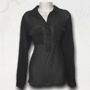 Black Polka Dots Long Sleeves Blouse With Collar